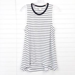 Club Monaco Black White Stripe Sleeveless Tank Top